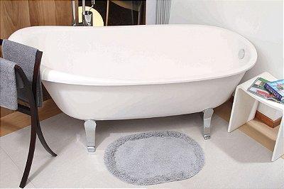 Tapete Oval Cinza 70cm x 52cm Para Banheiro