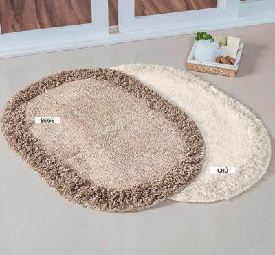 Tapete Oval Cor Cru 70cm x 52cm Para Banheiro