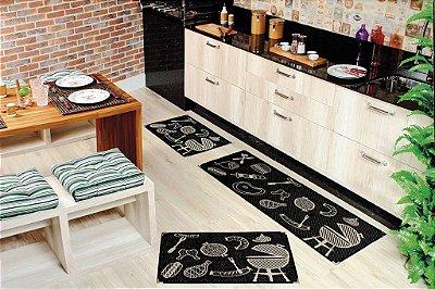 Kit Cozinha Sisal Preto 3 Tapetes Antiderrapante