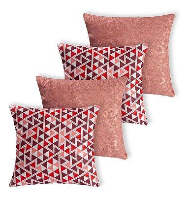 Kit 4 Almofadas Decorativas Chevron E Rosa Rosê Silicone