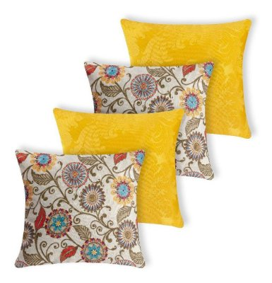 Kit 4 Almofadas Decorativas Floral Amarela Moderna Silicone