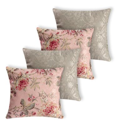 Kit 4 Almofadas Estampada Flores Rosa Rosê E Cinza Silicone