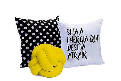 Kit de Almofadas 03 Peças Seja Energia Amarelo e Preto