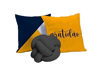 Kit de Almofadas 03 Peças Gratidão Amarelo Azul e Cinza