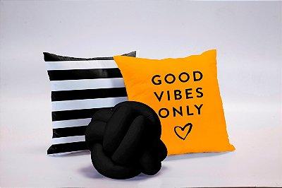 Kit de Almofadas 03 Peças Good Vibes Amarelo e Preto