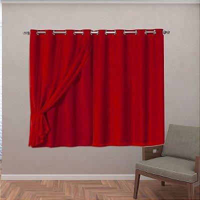 Cortina Tecido Blackout Com Voil 2,80 M X 1,60 M - Vermelho