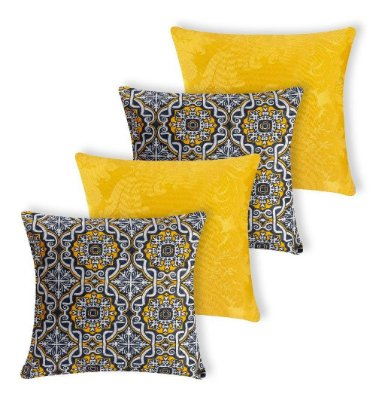 Kit 4 Capas Almofada Decorativa Jacquard Ladrilhos Amarela + 02 Azuis