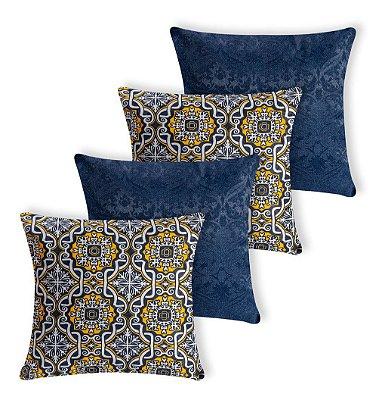 Kit 4 Capas De Almofada Decorativa Jacquard Ladrilhos Azul