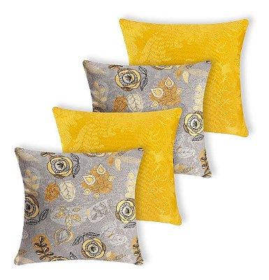 Kit 4 Capas De Almofada Decorativa Jacquard Cinza E Amarelo