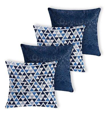 Kit 4 Capas De Almofada Decorativa Jacquard Triangulos Azul