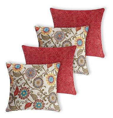 Kit 4 Capas De Almofada Decorativa Jacquard Floral Vermelha