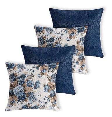 Kit 4 Capas De Almofada Decorativa Jacquard Azul Floral