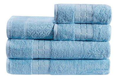 Jogo De Toalha De Banho 5 Peças Linha Class Gigante Azul