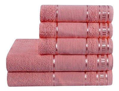 Jogo De Toalha De Banho 5 Peças Linha Premium Rubine Rosa