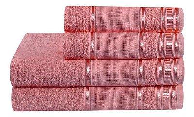 Jogo De Toalha De Banho 4 Peças Linha Premium Rubine Rosa