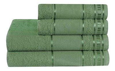 Jogo De Toalha De Banho 4 Peças Linha Premium Verde Tropical