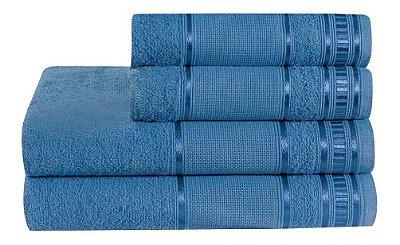 Jogo De Toalha De Banho 4 Peças Linha Premium Jeans Azul