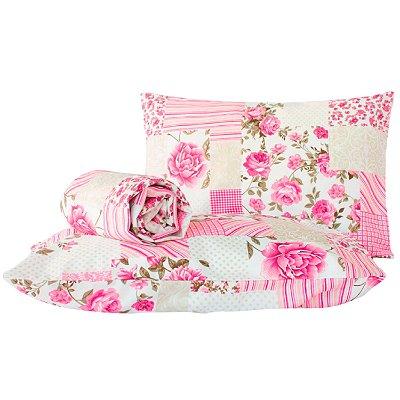 Jogo de lençol Classic 3 peças queen Patchwork rosa