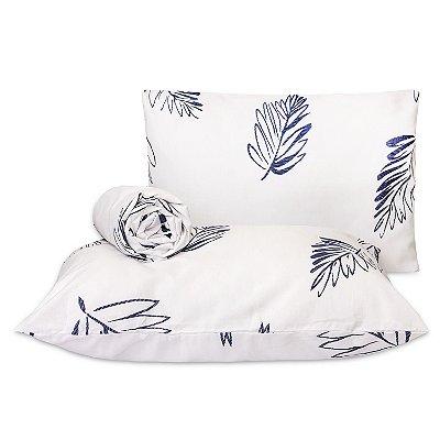 Jogo de lençol Classic 3 peças casal padrão  Folha azul