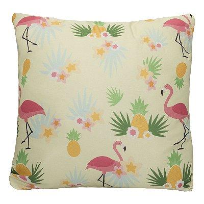Almofada Decorativa Cheia 42cm X 42cm Estampa Flamingo