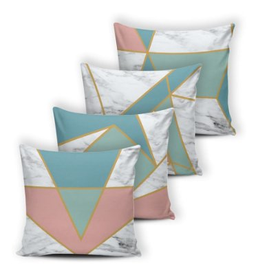 Kit 4 Almofadas Cheias Silicone 42x42 Modern Triangulos Rose