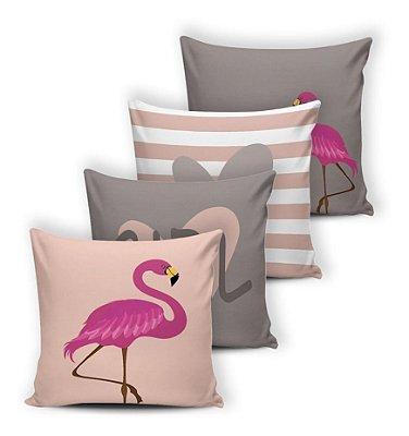 Kit 4 Almofadas Cheias Silicone 42x42 Modern Flamingo Cinza