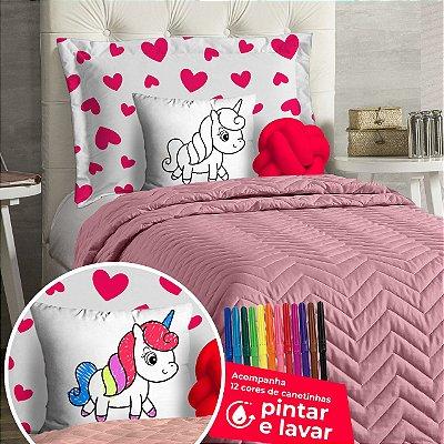 Cobre Leito Solteiro Infantil Rosa DiverKids Para Pintar