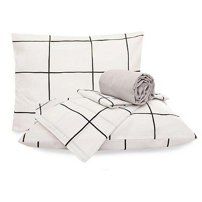 Jogo de lençol Casal Grid Preto e Branco Classic 4 Peças