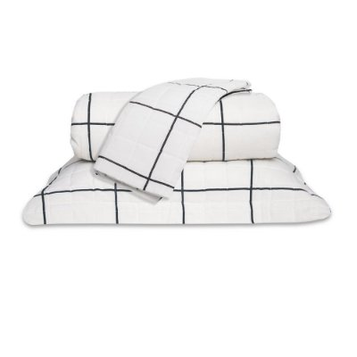 Cobre leito Queen Grid 160 Fios Classic 3Pç Preto e Branco