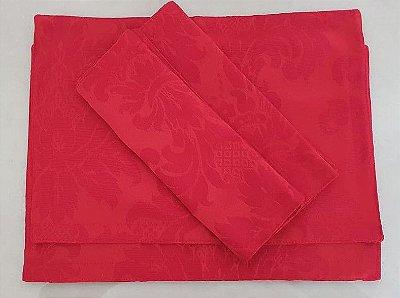 Kit Jogo Americano 6 Peças Em Tecido Jacquard Vermelha