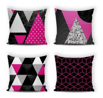 Kit 4 Capas De Almofada Modern Print 42x42 Geométrica Pink
