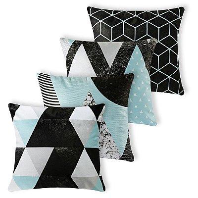 Kit 4 capas de Almofada Suede 40x40 Azul Geometrico Velvet