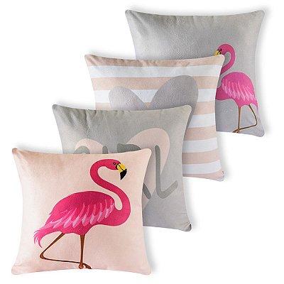 Kit 4 capas de Almofada Suede 40x40 Flamingos Cinza Velvet
