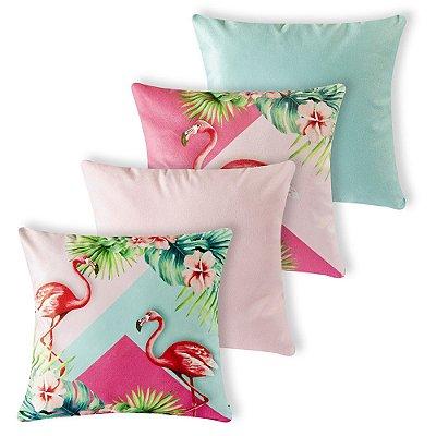 Kit 4 capas de Almofada Suede 40x40 Flamingos Rose Velvet