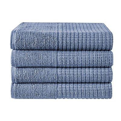 Kit 4 Toalhas de Banho Azul Jeans 100% Algodão Linha Paris