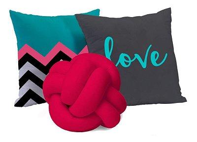 Kit de 03 Almofadas Love Azul Turquesa e Pink 45 x 45