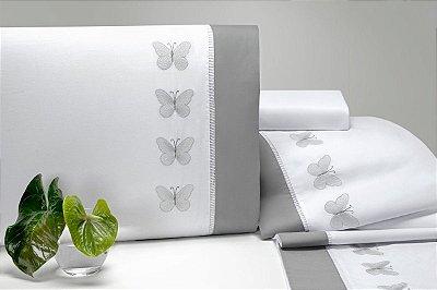 Jogo de Lençol Cama Queen 4 Peças Papillons Branco Borboleta