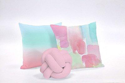 Kit de Almofadas Tie Dye 03 Peças 45 x 45 Rosa e Azul