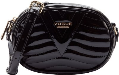 Bolsa Vogue Tiracolo Oval Verniz - Black