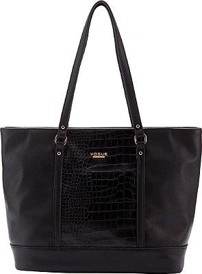 Bolsa Vogue Lisa Texturizada em Croco - Black