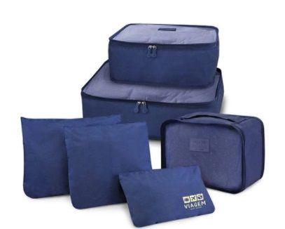 Kit Organizador de Malas de 6 Peças Azul