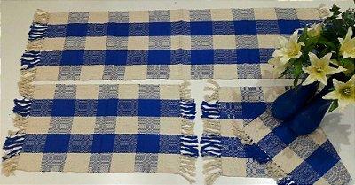 Kit de Passadeira Jacar Bordado Azul