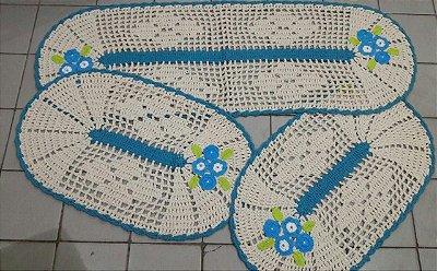 Kit de Passadeira Oval Azul