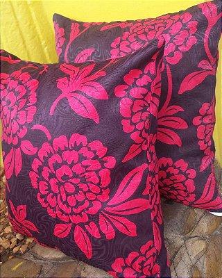 Capa de Almofada Estampada Floral Marsala