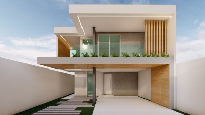 Casa dois pavimentos com 4 quartos e 3 suítes