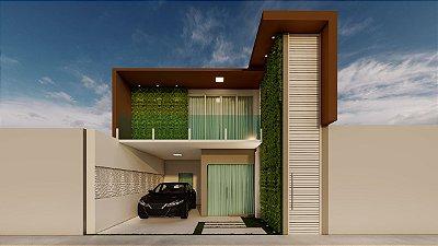 Planta de sobrado com duas casas