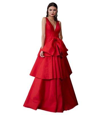 Vestido longo gode camadas tafetá cinto