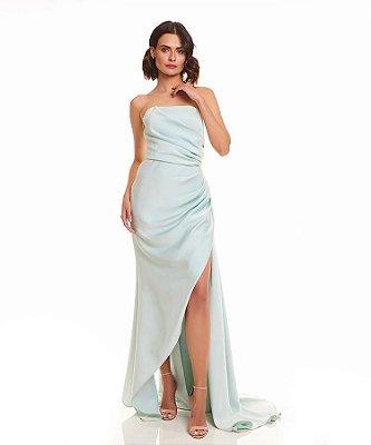 Mini vestido drapeado tafetá