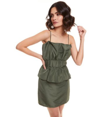 Vestido mini peplum tafetá