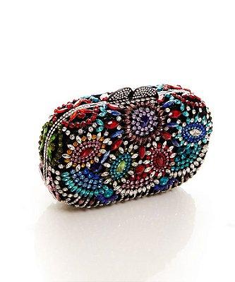 Clutch retangular com pedras coloridas